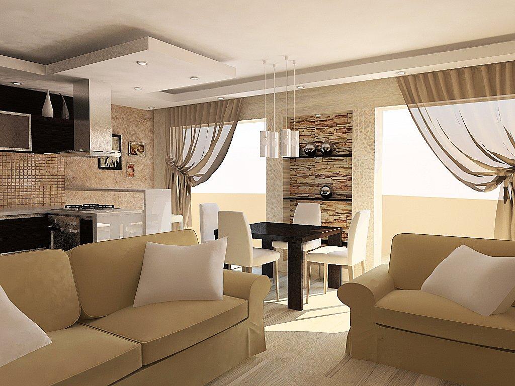 Дизайн гостиной совмещенной фото