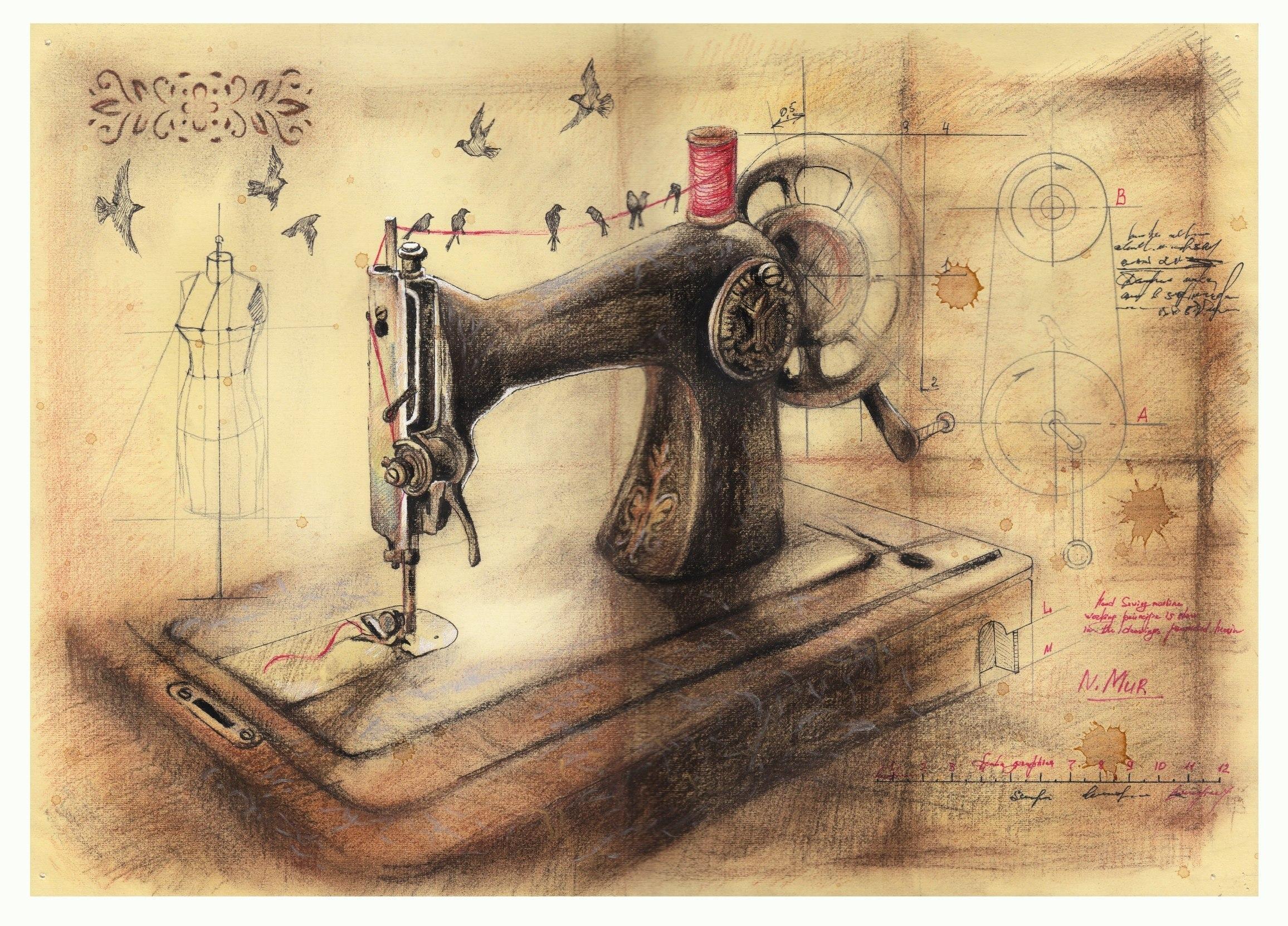 рисунок книгу о тряпку швейная машина фото его