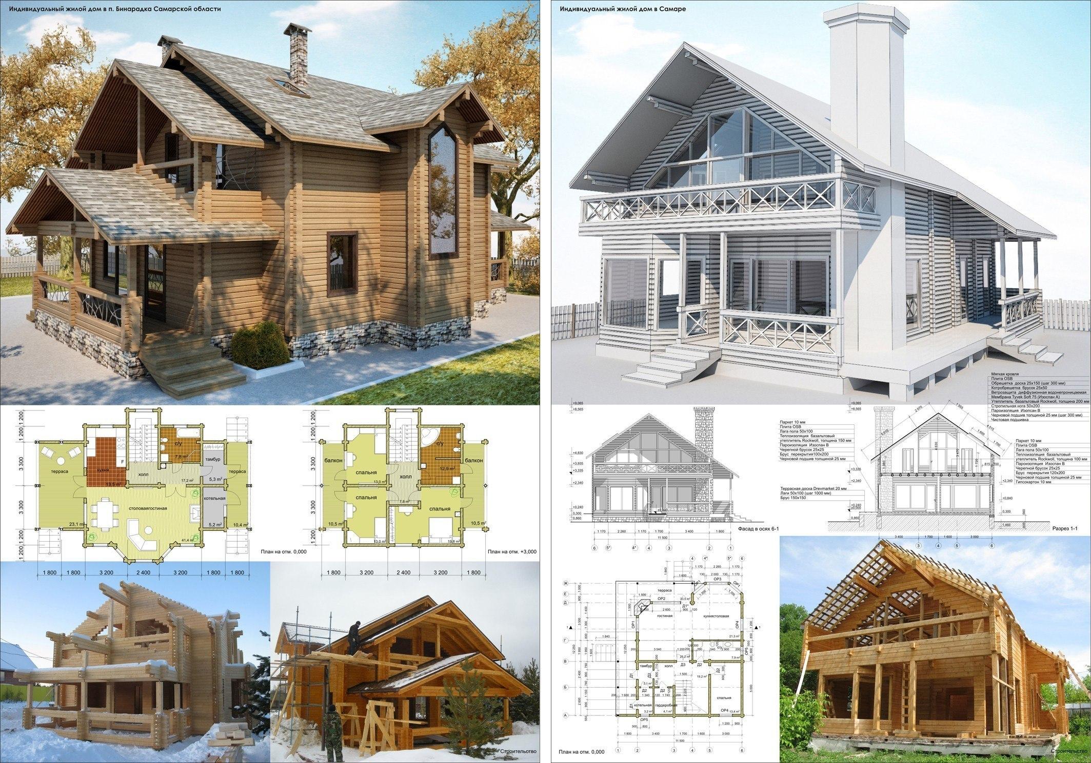 Проекты домов из бревна, строительство под ключ в Нижнем