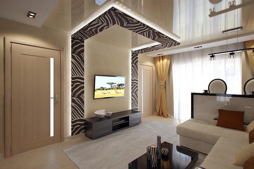 Дизайн гостиной проходной с тремя дверьми