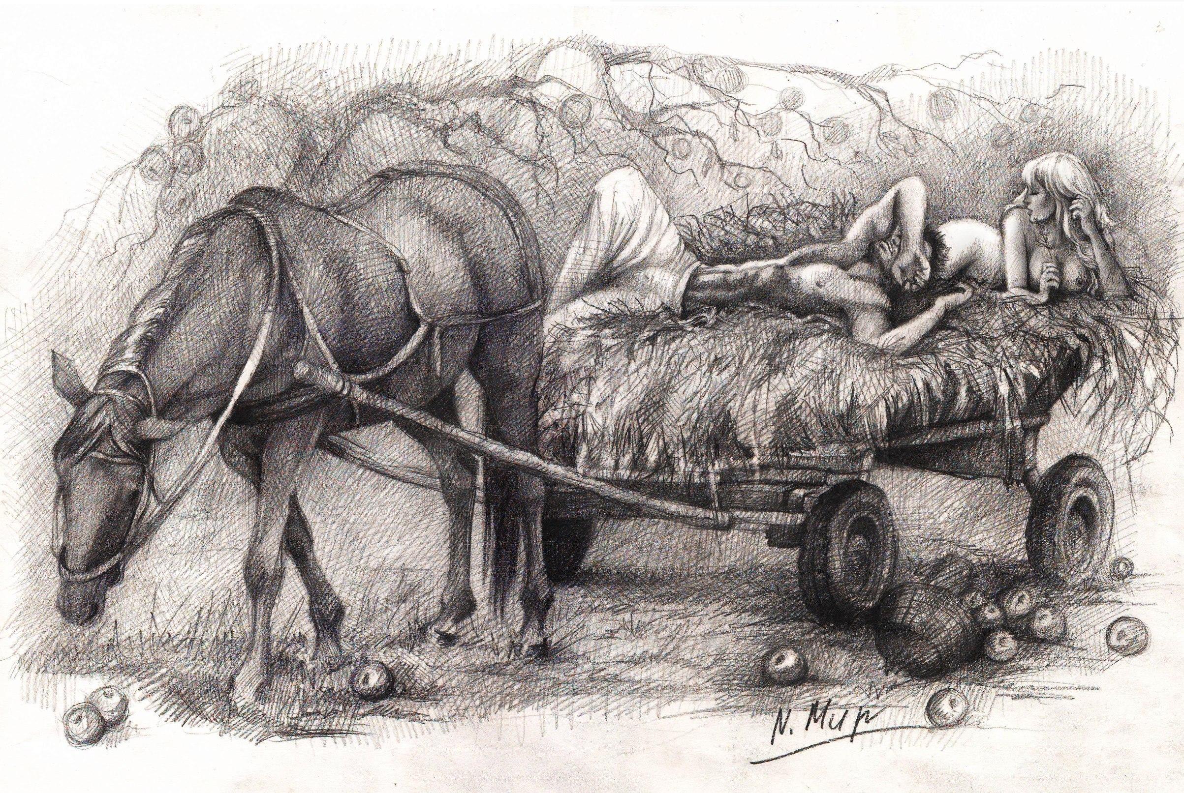 имеет рисунки лошадь с телегой воздухе запахло