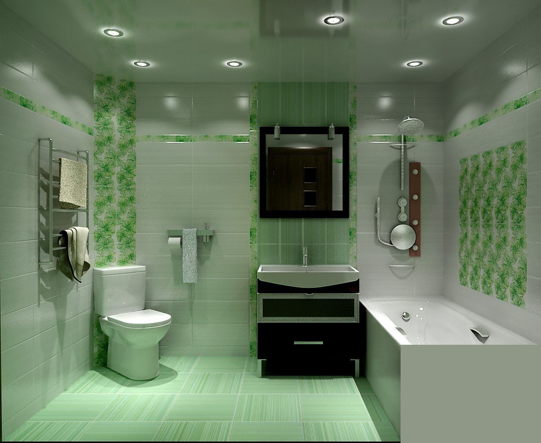 ванная комната с зелёной плиткой фото дизайн #5