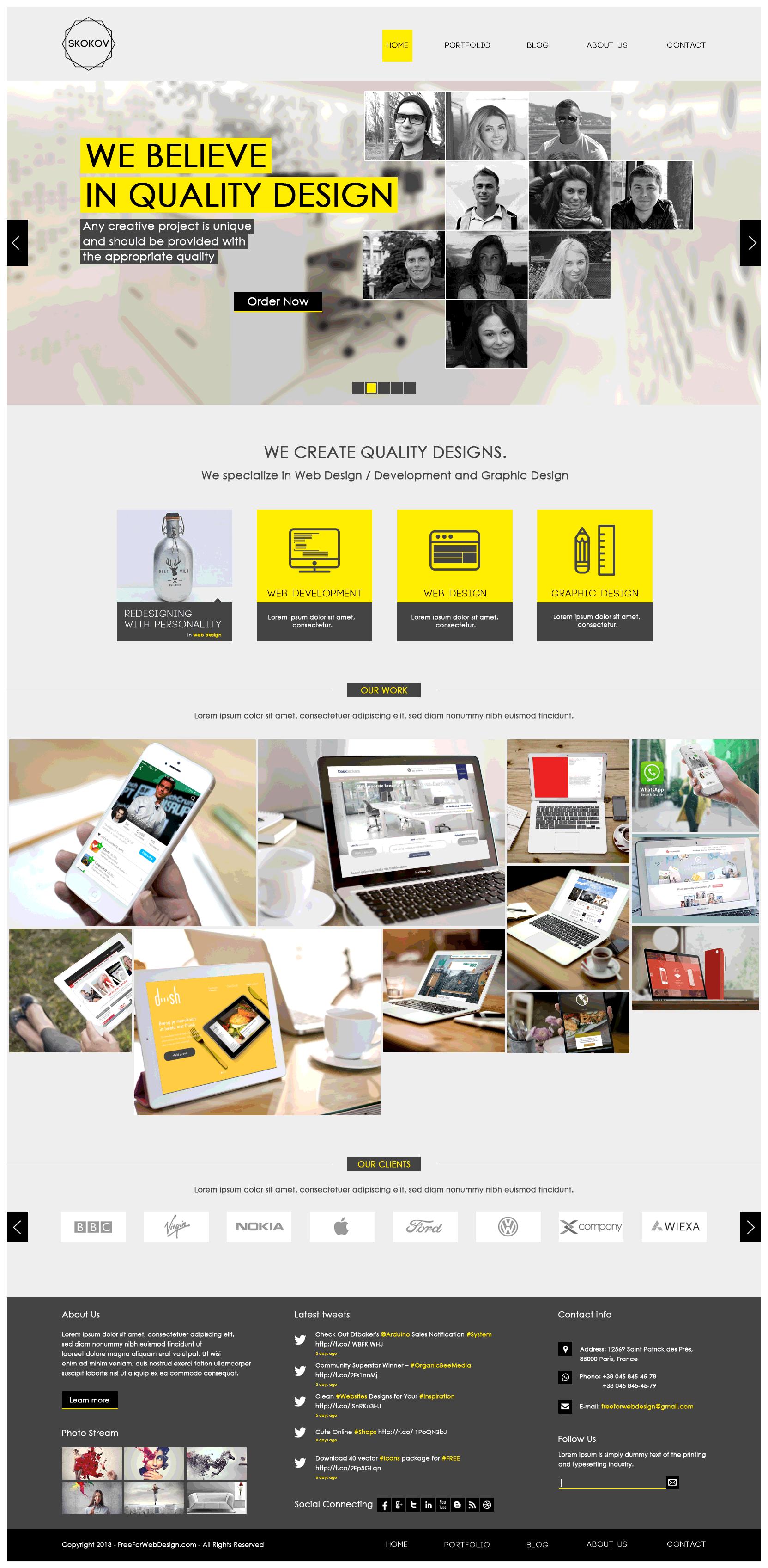 Free graphic design portfolio website templates