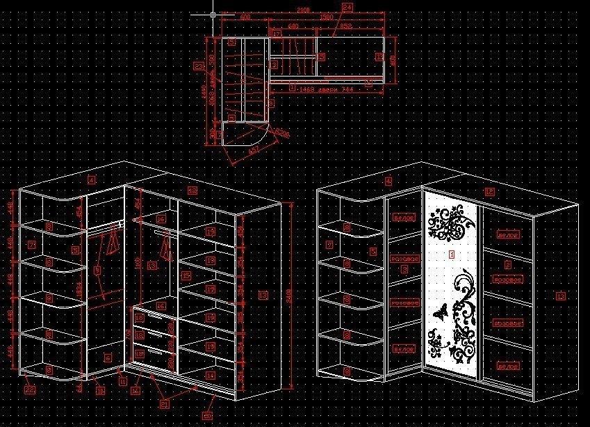 угловой шкаф-купе (чертеж)