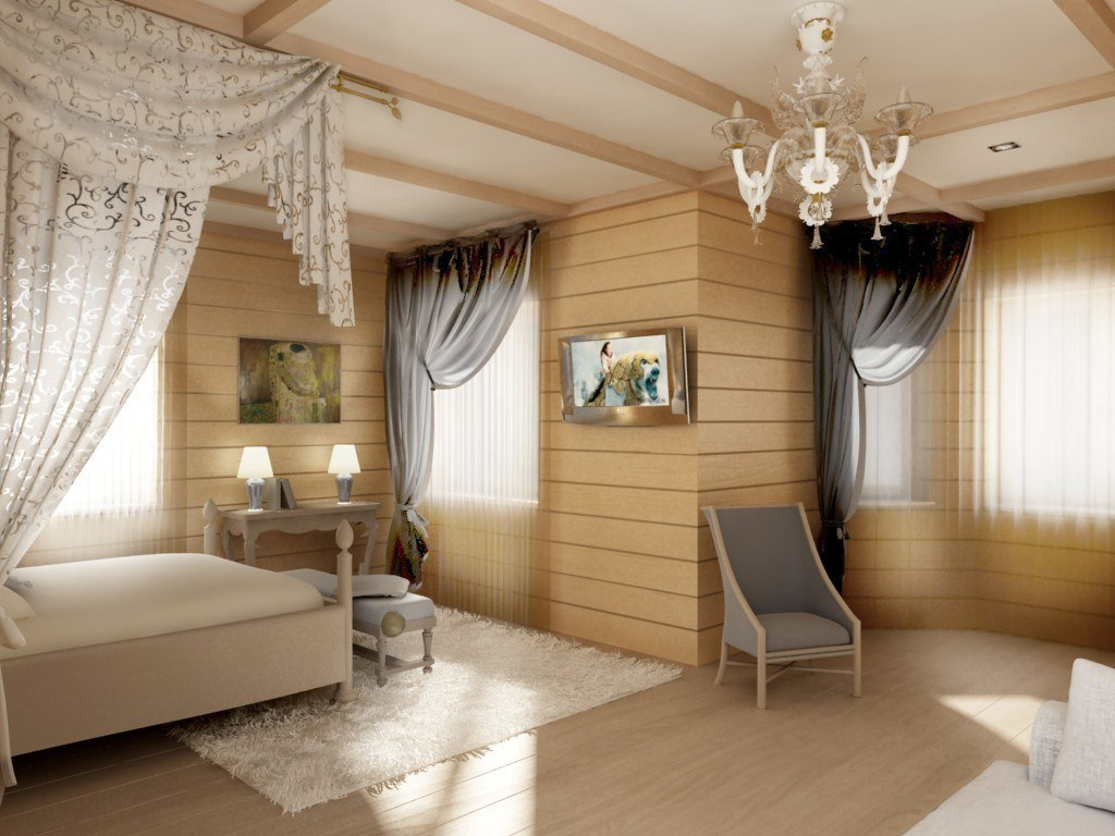 Спальни в деревянном доме фото