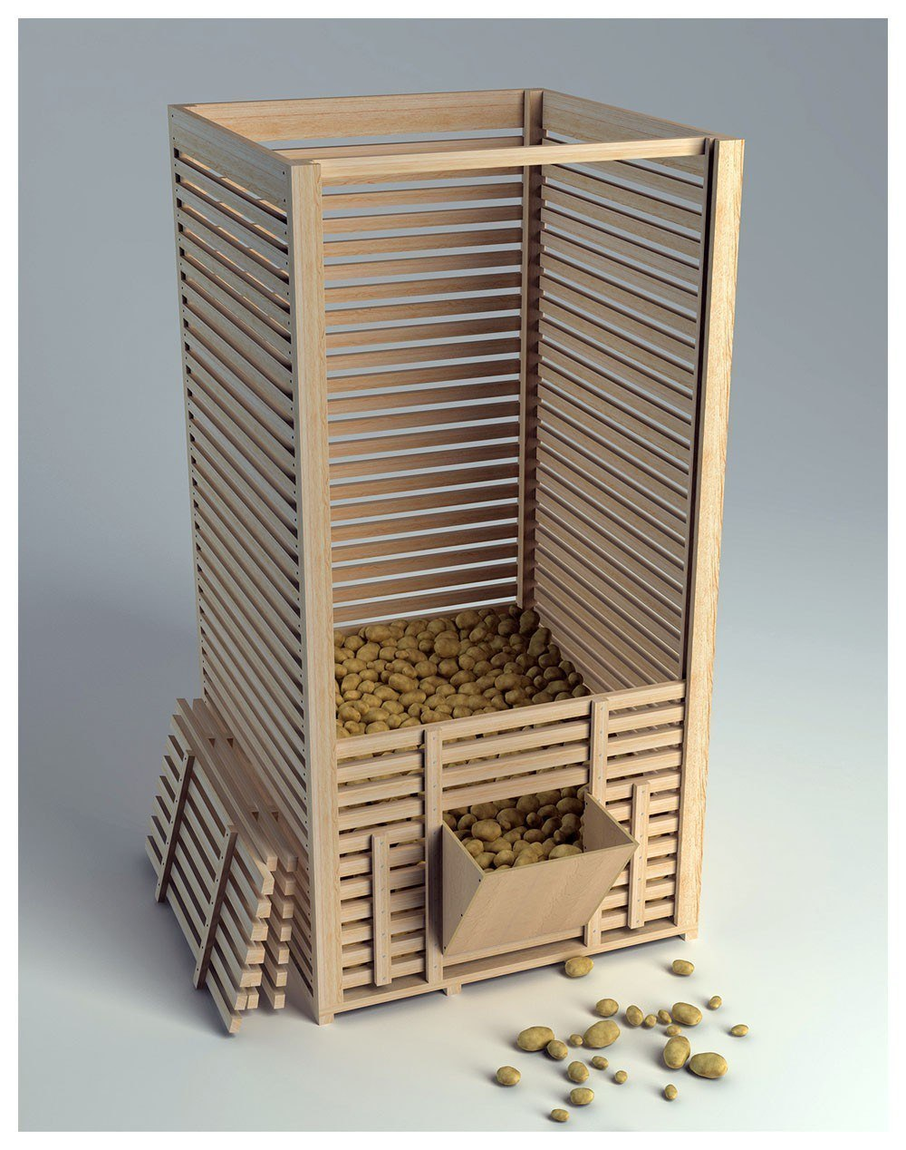 Высокий ящик для хранения картофеля в погребе можно сделать .