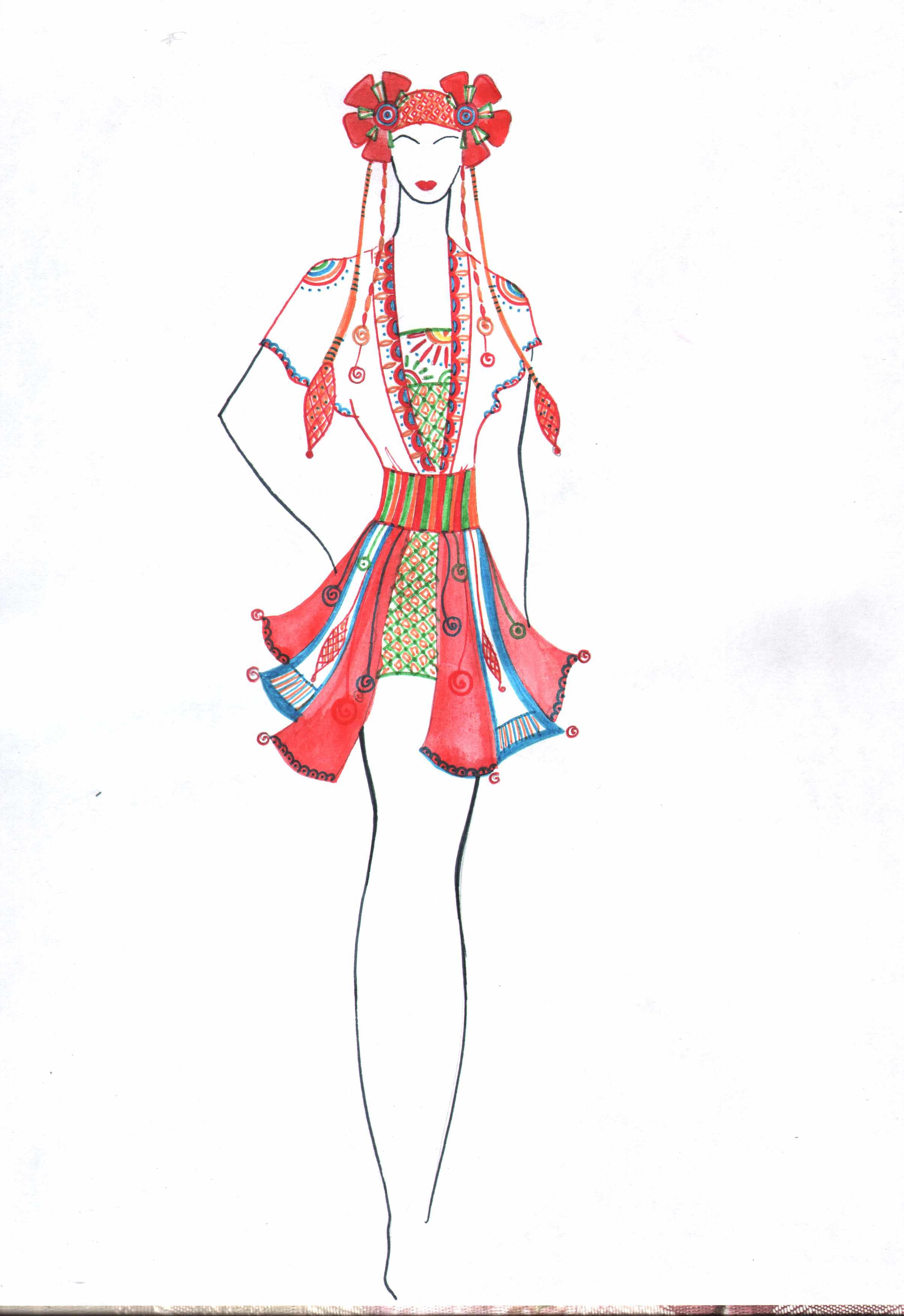 этнические костюмы рисунки решила нагнуть