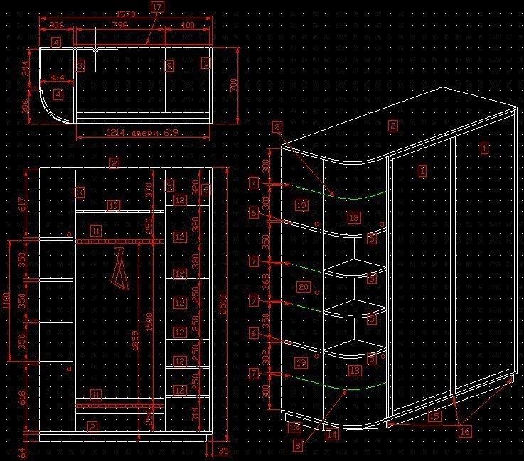 шкаф-купе в прихожую (чертеж)