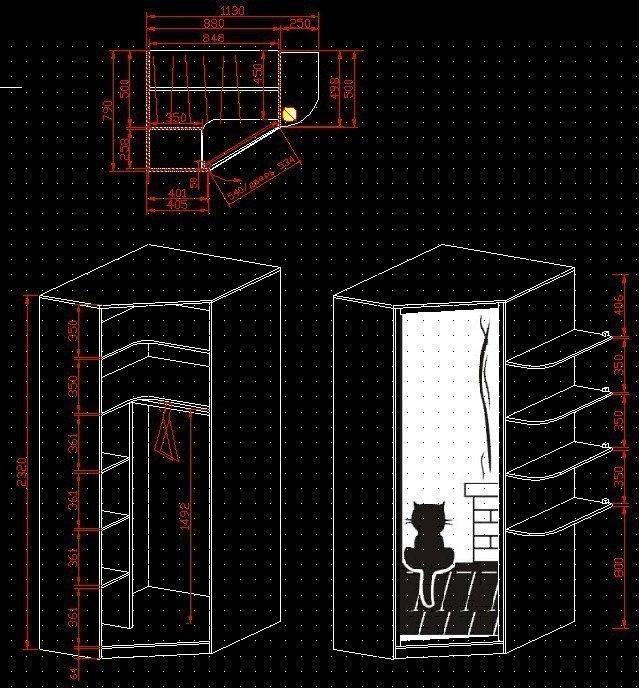 шкаф угловой в детскую (чертеж) - Freelance Job - фриланс и удаленная работа
